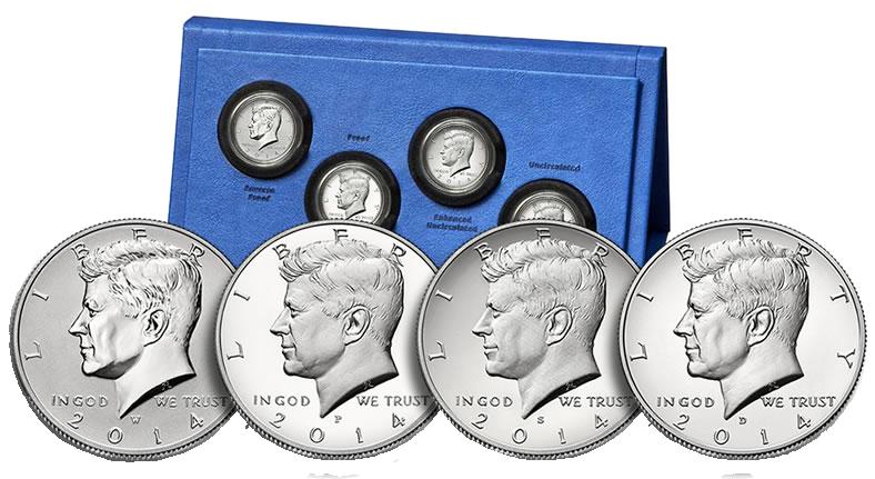 2014-W Reverse Proof Kennedy Silver Half Dollar 50th Anniversary