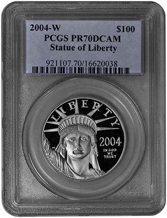 2004 W 100 Platinum Statue Of Liberty Pcgs Pr70dcam