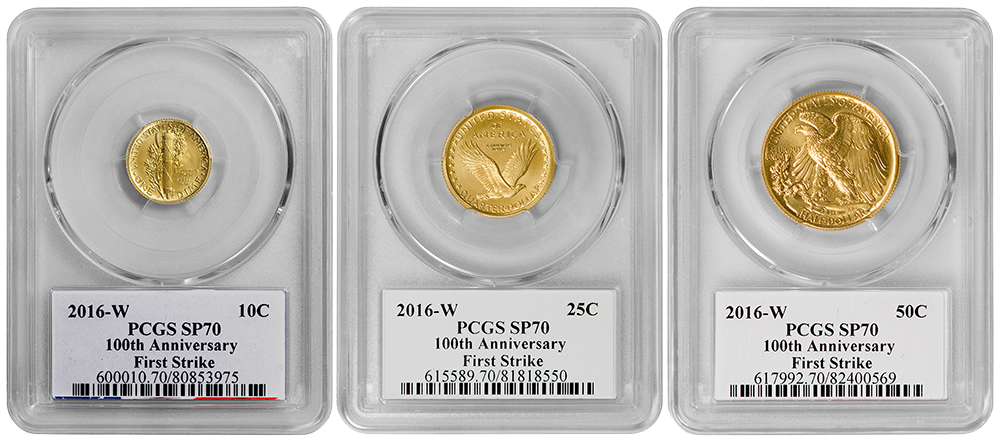 3 Piece Set 2016 W Centennial Gold Pcgs Sp70 First