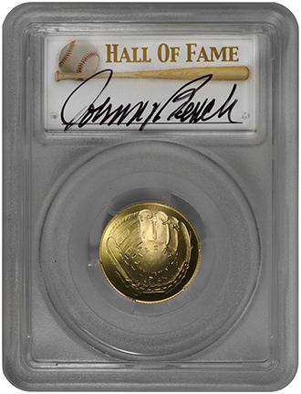 2014 W 5 Baseball Hall Of Fame Pcgs Ms70 Johnny Bench